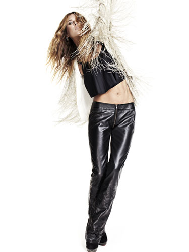 Erin Wasson Models Her New Collection For Zadig Voltaire on oscar de la renta jacket black sweater