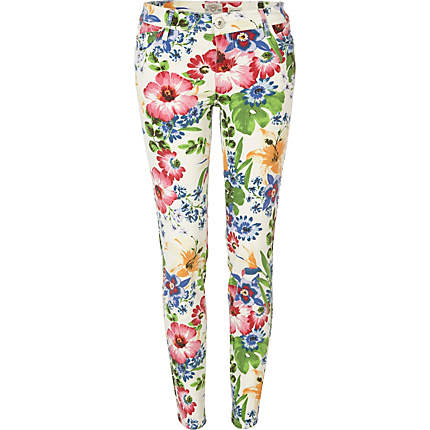 Warehouse Fashion 2012 on White Floral Print Jeans From River Island   40
