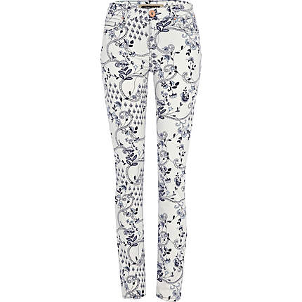 Black and white patterned skinny jeans